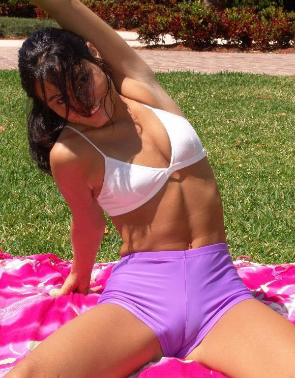 Latina girl shows camel toe pussy in shorts before hard fucking back home  2272101